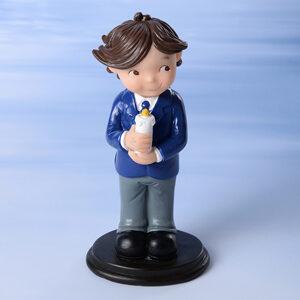 Kommunion-Junge, stehend auf braunem Sockel, Polyresin, H: 13,5 cm