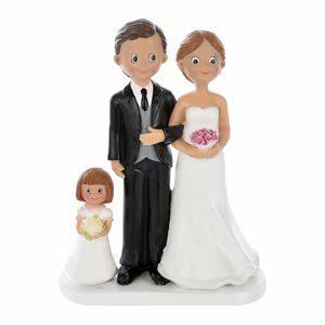 Brautpaar mit Kind Mädchen, Höhe 17,5 cm