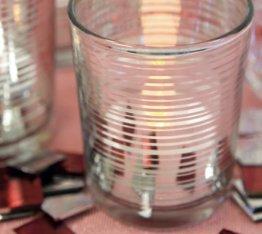 2 Stück Teelichtglas Silber ca. 6,8 x 5,8 cm