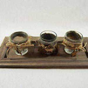 Die Familienfeier Holztablett dekoriert mit 3 Teelichtgläsern Fell