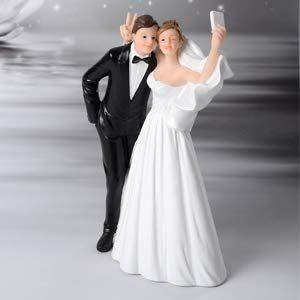Tortenfigur Kuchenaufsatz Brautpaar Selfie, 15 cm
