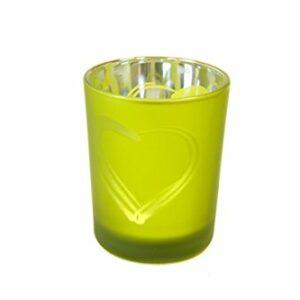 2 Stück Teelichtglas Herz Apfelgrün 6,8 x 5,8 cm