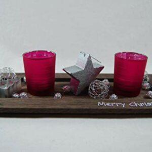 Die Familienfeier Holztablett dekoriert mit 2 Teelichtgläsern Pink