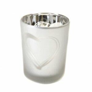 2 Stück Teelichtglas Herz Silber 6,8 x 5,8 cm
