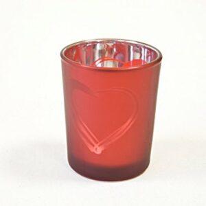 2 Stück Teelichtglas Herz Rot 6,8 x 5,8 cm