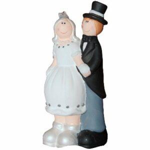 Süsses Brautpaar aus Keramik mit Frack und Zylinder, 14 cm