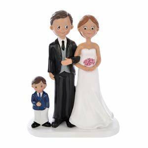 Brautpaar mit Kind Junge, Höhe 17,5 cm
