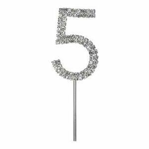 Diamant-Zahl -5- am Silberstab, 4,5 cm
