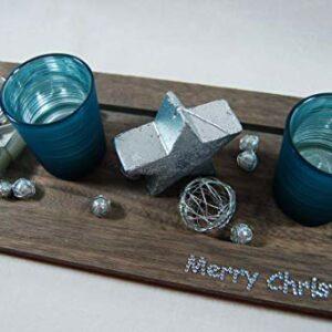 Die Familienfeier Holztablett dekoriert mit 2 Teelichtgläsern Türkis