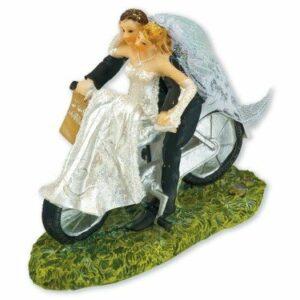 Braut und Bräutigam auf dem Fahrrad, 12x 6x 10cm