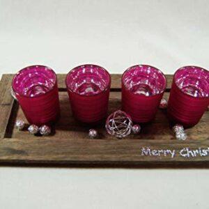 Die Familienfeier Holztablett dekoriert mit 4 Teelichtgläsern Pink