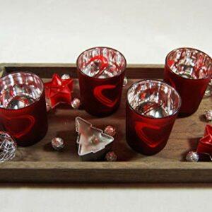 Die Familienfeier Holztablett dekoriert mit 4 Teelichtgläsern Rot