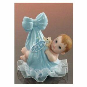 Tortenfigur Tortenaufsatz Baby im Tragetuch hellblau, Polystone, 9 cm