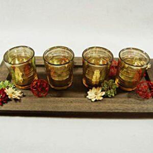 Holztablett dekoriert mit 4 Teelichtgläsern in gold