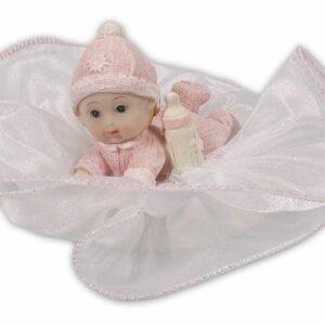 Tortenfigur Tortenaufsatz Baby rosa, Polystone, 12 cm
