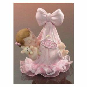 Tortenfigur Tortenaufsatz Baby im Tragetuch rosa, Polystone, 9 cm