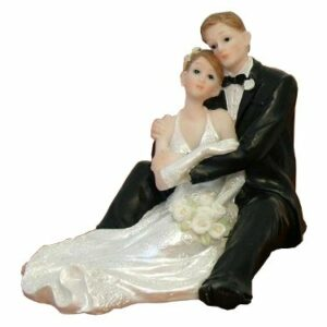 Tortenfigur Brautpaar sitzend, 11,5 x 9 cm