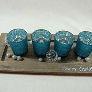 Die Familienfeier Holztablett dekoriert mit 4 Teelichtgläsern Türkis