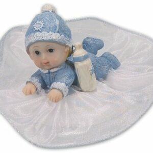 Tortenfigur Tortenaufsatz Baby hellblau, Polystone, 12 cm