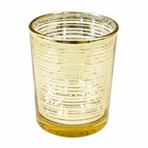 2 Stück Teelichtglas Gold, 6,8 x 5,8 cm