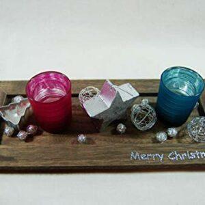Die Familienfeier Holztablett dekoriert mit 2 Teelichtgläsern Pink/Türkis