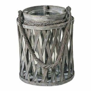 Windlicht Laterne, rund, Holzspan grau gekalkt, licht verflochten, Glaseinsatz, Kordel zum Aufhängen