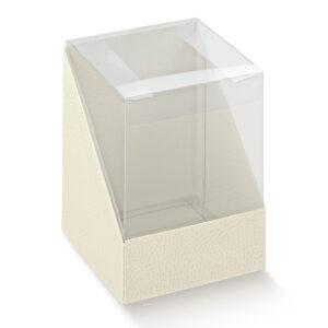 10 St Kartonage Pelle Bianco mit transp. Deckel, 6,5 x 6,5 x 4,5 cm