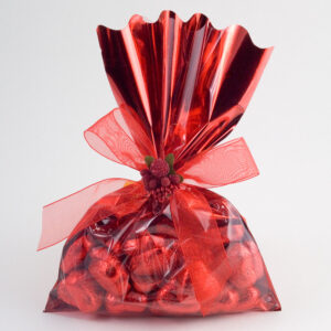 Folientüte rot mit durchsichtiger Vorderseite, 16x24cm (50 Pack)