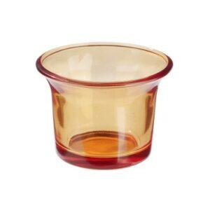 Teelichtglas Orange, 6,5 x 4,5 cm, 10 Stück