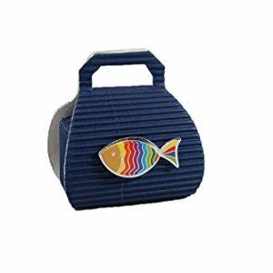 10 Stück Gastgeschenk Kommunion, Borsa dunkelblau mit Regenbogenfisch