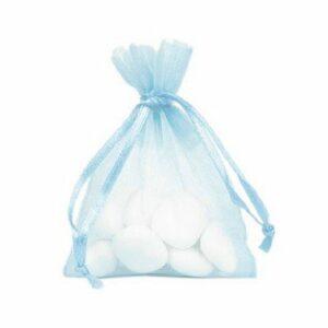 10 Stück Gastgeschenk Organzasäckchen gefüllt, hellblau, 8 x 10 cm