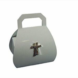 10 Stück Gastgeschenk Kommunion, BORSA Bianco glänzend mit Diamantkreuz