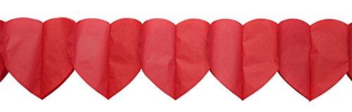 Herzgirlande aus Papier, Rot, 18 x 17 cm, 3,25 m