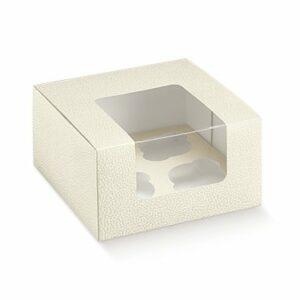 10 Cupcake Boxen für 4 Cupcakes/Muffins – in hochwertiger Ledereffekt Prägung (180 x 180 x 100 mm)