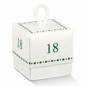 10 Stück Würfel puderweiß mit Zahl 18 in grün, 5 x 5 cm