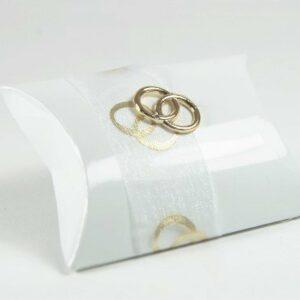 10 STÜCK Gastgeschenk zur Hochzeit – Busta Bianco glänzend mit Band und Ringen gold