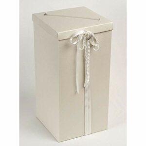 Box mit Deckel geprägtes Muster, Weiß schimmernd, Größe 25 x 25 x 50 cm