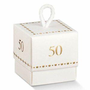 10 Stück Würfel puderweiß mit Zahl 50 in Gold, 5 x 5 cm
