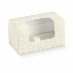 Gebäckschachtel, 180 x 90 x 100 mm, 10 Stück, Kartons mit Klarsichtdeckel mit 2 Einsätzen (D: 6 cm)