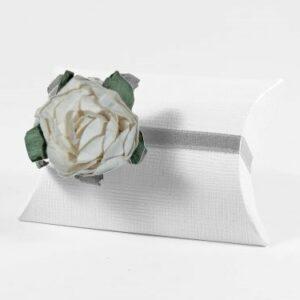 10 STÜCK Gastgeschenk BUSTA Seta weiss mit Papierrose altweiß