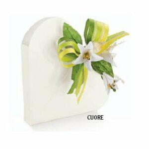 10 Stück Herzschachtel Cuore Bianco weiß glänzend, 65 x 15 mm