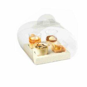 10 Stück Box transparent mit Einsatz für kleine Gebäckstücke, 120 x 120 x 100 mm