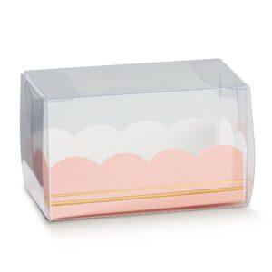 10 Macaron Schachteln transparent mit Einsatz in Rosa mit Goldverzierung (80 x 50 x 50 mm)