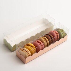 10 Macaron Schachteln transparent mit Einsatz in Rosa mit Goldverzierung (190 x 50 x 50 mm)