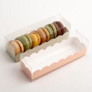 10 Macaron Schachteln transparent mit Einsatz in Rosa mit Goldverzierung (160 x 50 x 50 mm)