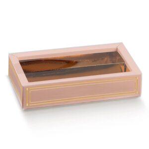 10 Schokoladeboxen in Rosa mit Sichtfenster und goldenem Einsatz (145 x 75 x 35 mm)
