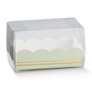 10 Macaron Schachteln transparent mit Einsatz in Salbeigrün mit Goldverzierung (80 x 50 x 50 mm)