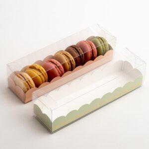 10 Macaron Schachteln transparent mit Einsatz in Salbeigrün mit Goldverzierung (190 x 50 x 50 mm)