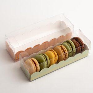 10 Macaron Schachteln transparent mit Einsatz in Salbeigrün mit Goldverzierung (160 x 50 x 50 mm)