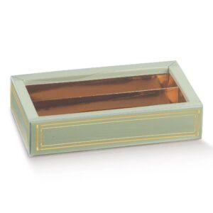 10 Schokoladeboxen in Salbeigrün mit Sichtfenster und goldenem Einsatz (145 x 75 x 35 mm)